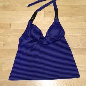 Mossimo Women/'s Starry Sky Blue White Striped Racerback Tankini Swim Top M